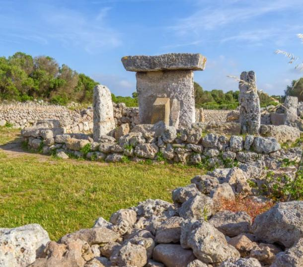 Talaiot de Trepuco, megalithic table-shaped Taula monument on Menorca island, Spain.